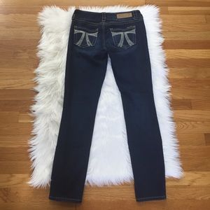 Seven7 Back Packer Embroidered Skinny Jeans